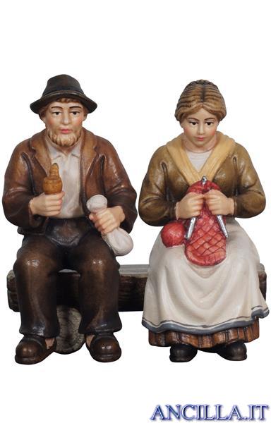 Nonni seduti sulla panca Mahlknecht serie 9,5 cm