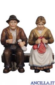 Nonni seduti sulla panca Mahlknecht serie 12 cm