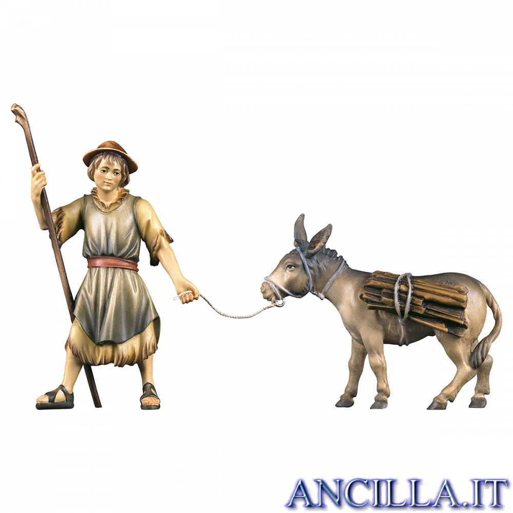 Pastore che tira l'asino con legna Ulrich serie 12 cm