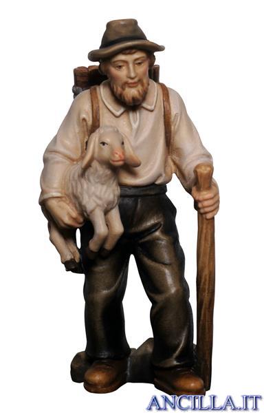 Pastore con agnello in braccio e gerla Mahlknecht serie 12 cm