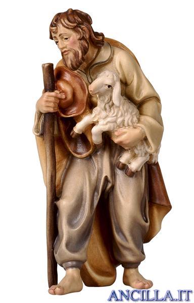 Pastore con bastone e agnello in braccio Rainell serie 9 cm