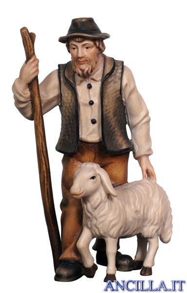 Pastore con pecora e bastone Mahlknecht serie 9,5 cm