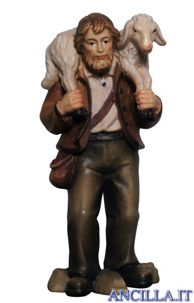 Pastore con pecora in spalla Mahlknecht serie 12 cm