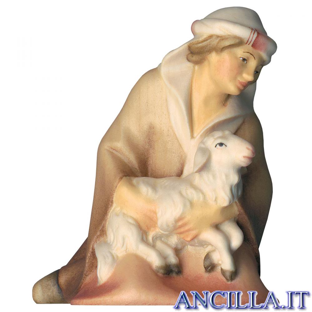 Pastore inginocchiato con agnello Cometa serie 25 cm