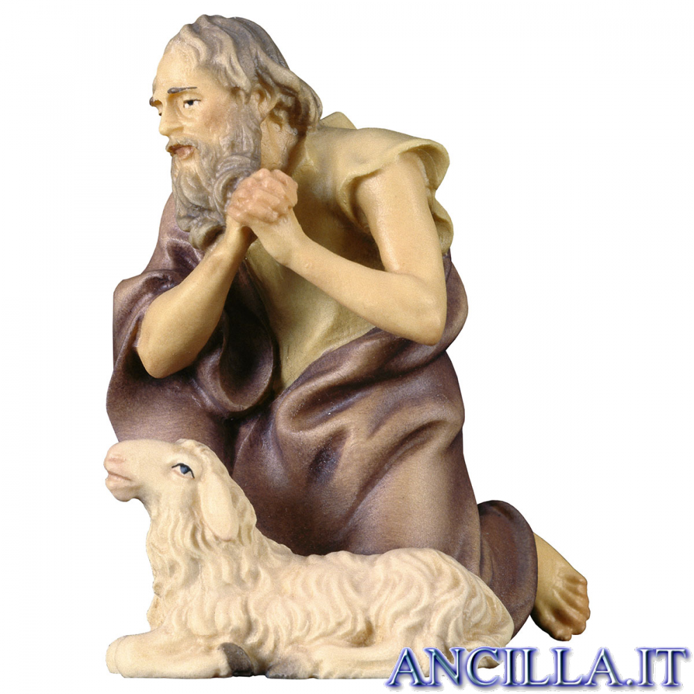 Pastore inginocchiato con pecora Ulrich serie 12 cm