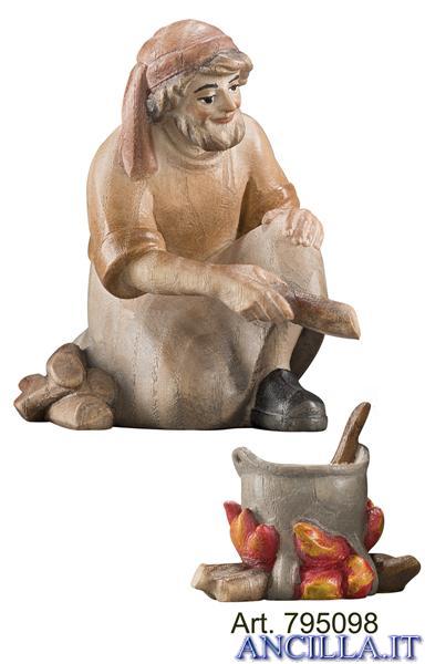 Pastore inginocchiato davanti al fuoco Pema serie 12 cm