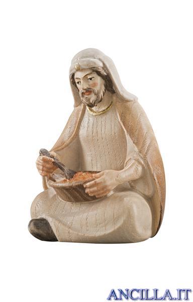 Pastore seduto che mangia Pema serie 12 cm