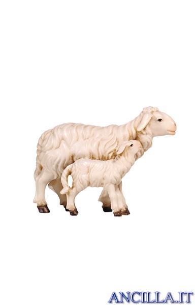 Pecora in piedi con agnello Kostner serie 25 cm