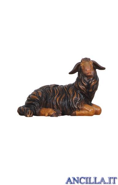 Pecora nera sdraiata testa a destra Rainell serie 22 cm