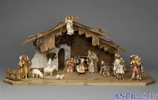 Presepio Rainell Capanna Notte Santa legno e calce - 15 pezzi