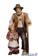 Pastore con bambina e coniglio Kostner serie 16 cm