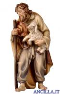 Pastore con bastone e agnello in braccio Rainell serie 15 cm