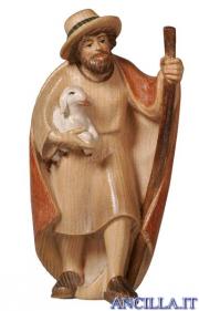 Pastore con bastone e agnello in braccio Pema serie 15 cm