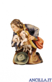 Pastore inginocchiato con due agnelli Kostner serie 12 cm