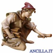 Pastore inginocchiato con legna Ulrich serie 12 cm