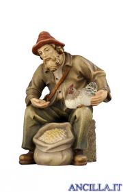 Pastore seduto con mangime e gallina Rainell serie 9 cm