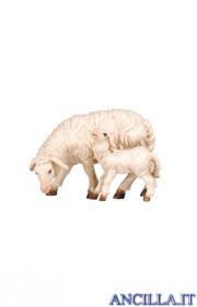 Pecora che mangia con agnello Kostner serie 12 cm