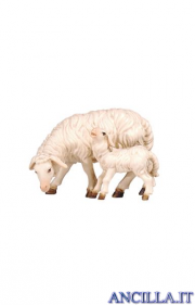 Pecora che mangia con agnello Rainell serie 15 cm