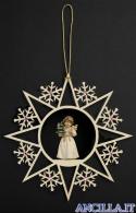 Stella fiocchi di neve e Angelo in piedi con albero di Natale
