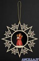 Stella fiocchi di neve e Angelo in piedi con regalo