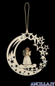 Stella cometa con Angelo in piedi e albero di Natale