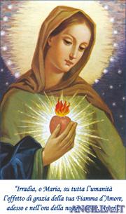 Stampa su tela della Fiamma d'Amore del Cuore Immacolato di Maria