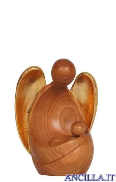 Angelo custode Amore seduto legno di ciliegio