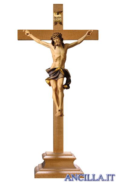 Crocifisso Nazareno dipinto a olio (blu) - croce con piedistallo