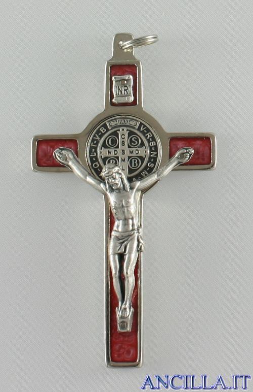 Croce-medaglia di San Benedetto in metallo intarsio smalto