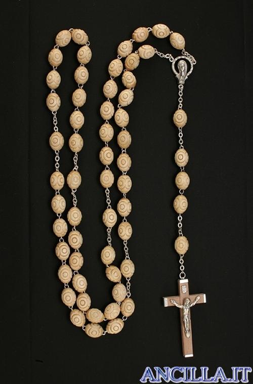 Corona del Rosario grani in legno di faggio lavorato