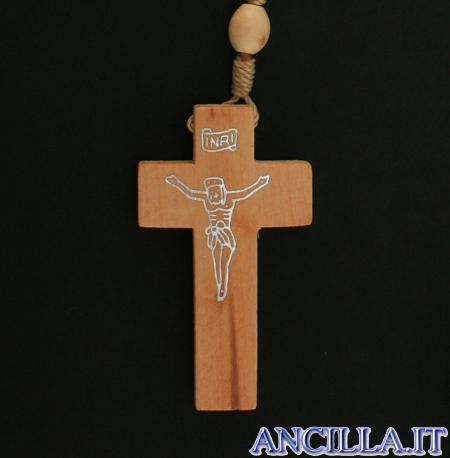 Corona del Rosario legno ovale su corda