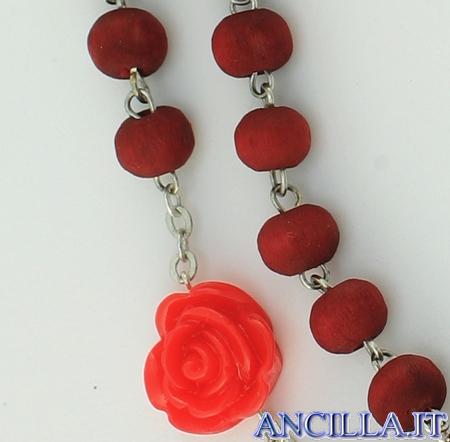 Corona del Rosario legno rosso profumato con pater rosellina