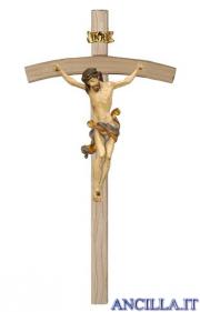 Crocifisso Leonardo anticato oro zecchino - croce curva