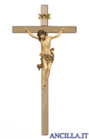Crocifisso Leonardo anticato oro zecchino - croce diritta