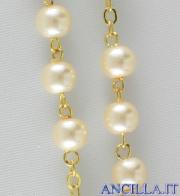 Corona del Rosario perla vetro cerato con croce e crocera in smalto rilegatura dorata