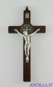 Croce-medaglia di San Benedetto in legno tinta noce