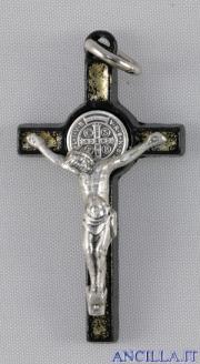 Croce-medaglia di San Benedetto metallo nero e smalto oro