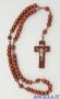 Corona del Rosario legno tondo su corda