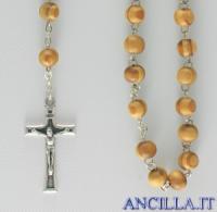 Corona del Rosario legno d'ulivo venato grani tondi