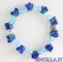 Bracciale elastico rosellina resina blu e acqua