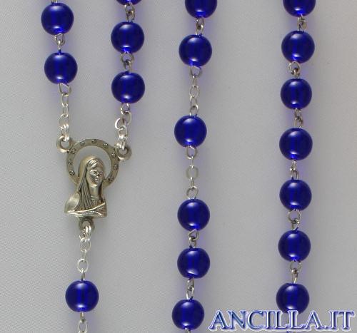 Corona del Rosario in ottone argentato con grani in vetro tondo blu