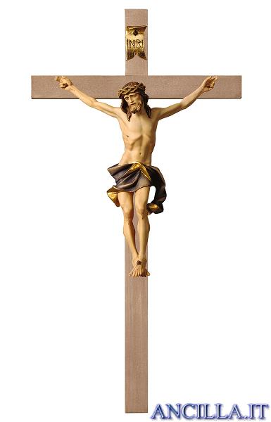 Croce.Crocifisso Nazareno Dipinto A Olio Blu Croce Liscia