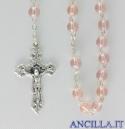 Corona del Rosario in ottone argentato con grani in vetro tondo rosa