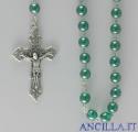 Corona del Rosario in ottone argentato con grani in vetro tondo verde