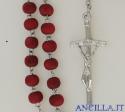 Corona del Rosario legno rosso liscio al profumo di rosa
