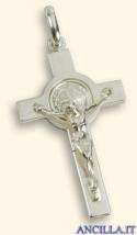 Croce-medaglia di San Benedetto argento 925°/°° lucido