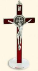 Croce-medaglia di San Benedetto in metallo intarsio smalto con base