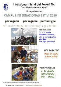 DAL 6 AL 13 AGOSTO: CAMPUS INTERNAZIONALE PER FAMIGLIE CON I SERVI DEI POVERI DEL TERZO MONDO