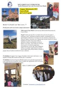 DAL 5 AL 27 AGOSTO A CUSCO (PERU'): CAMPO MISSIONARIO PER RAGAZZE