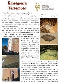 Emergenza Terremoto dal Monastero Sorelle Clarisse di Camerino